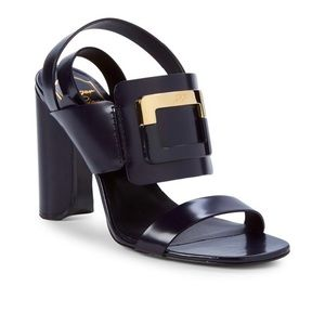 Roger Vivier Buckle Leather Block Heel Sandals
